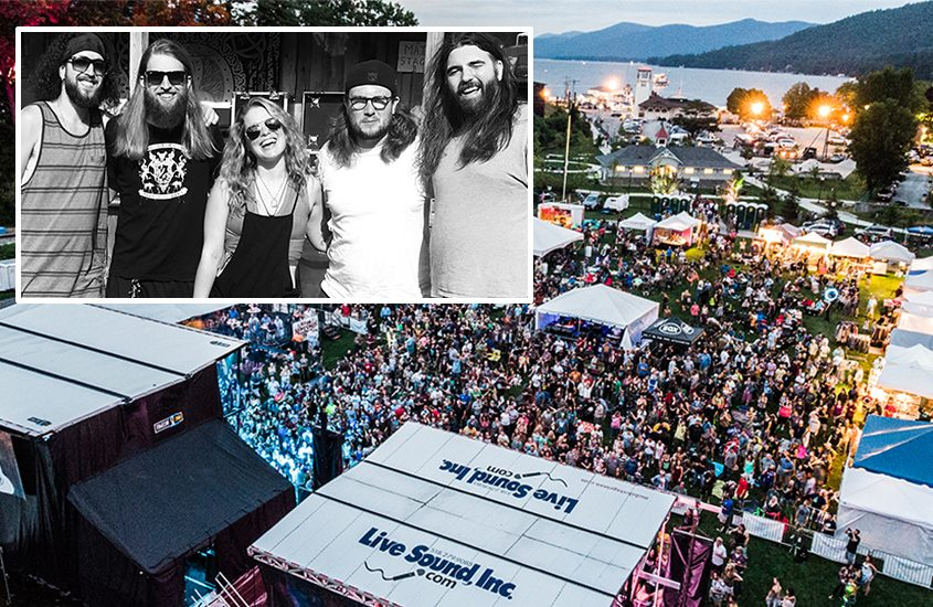 An aerial view of last year's festival at Lake George. Inset: Hayley Jane and the Primates.