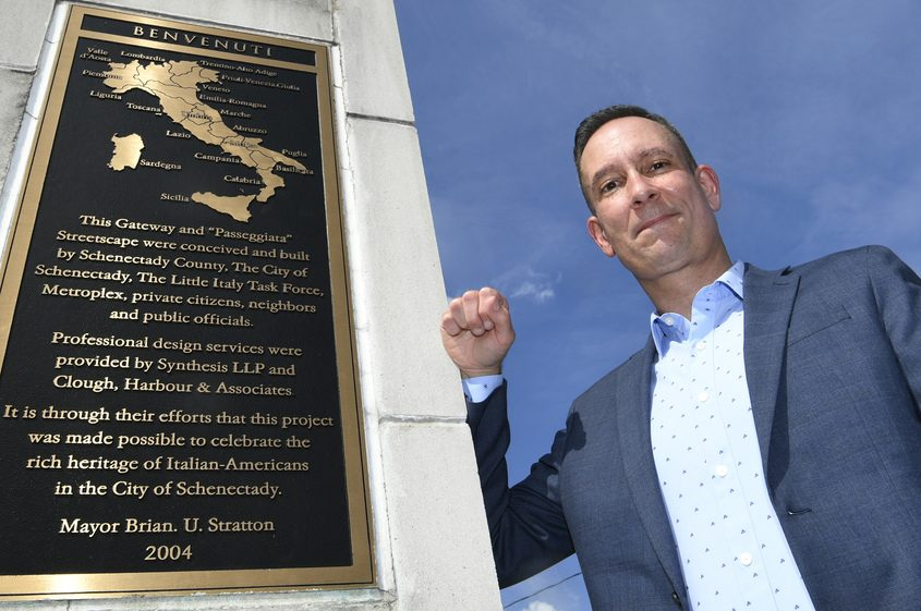 Jim Salengo of the Downtown Schenectady Improvement Corporation stands on N. Jay Street.