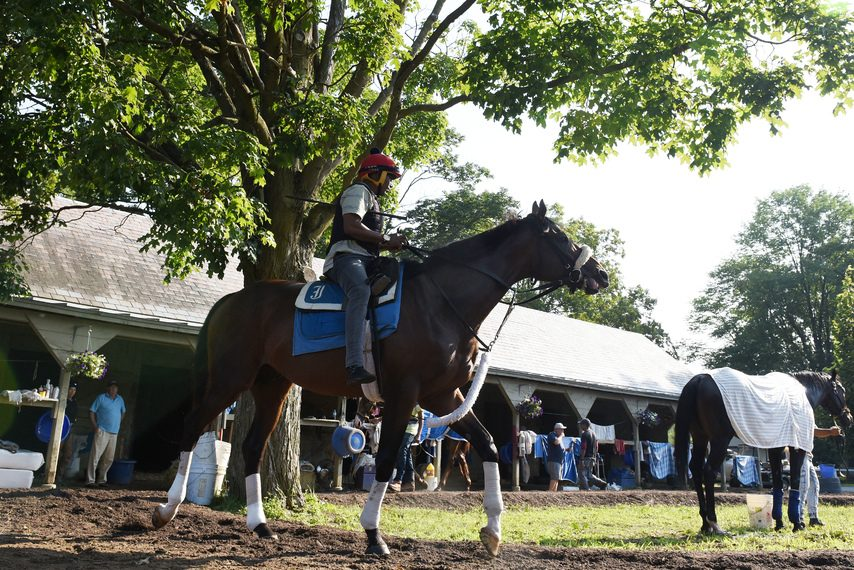 Exercise rider Kelvin Pahal walks Preservationist prior to a workout at Saratoga on July 27.