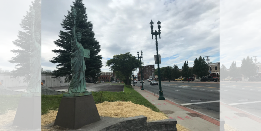 Lady Liberty at her new home on Erie Boulevard, near Union Street.