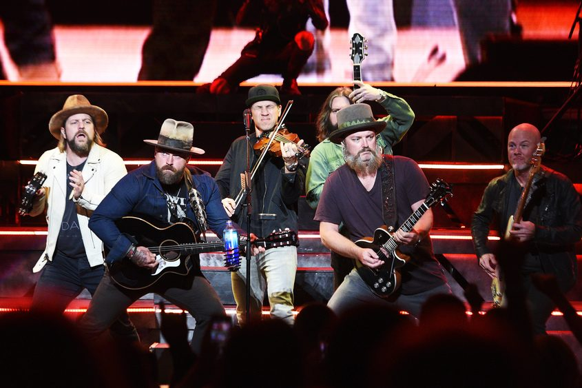 Zac Brown, second from left and his band played Friday at Saratoga Performing Arts Center.