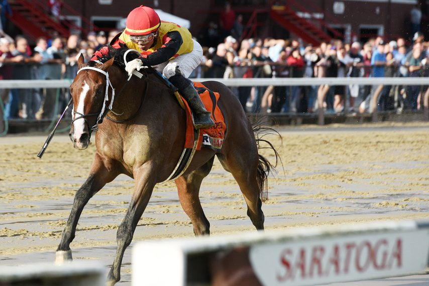 Basin and Jose Ortiz roll home to win the Grade I Hopeful at Saratoga Race Course on closing day Monday.