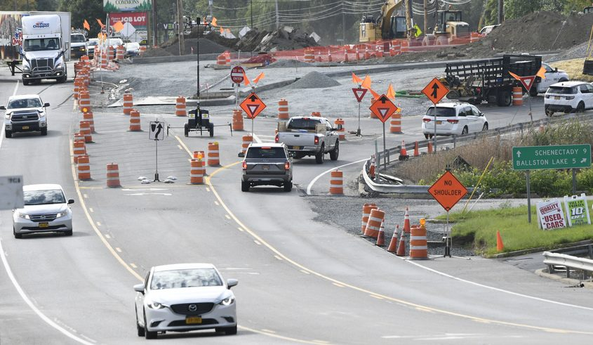 Traffic moves around the temporary round-about at Route 146 and Route 146a in Clifton Park last week