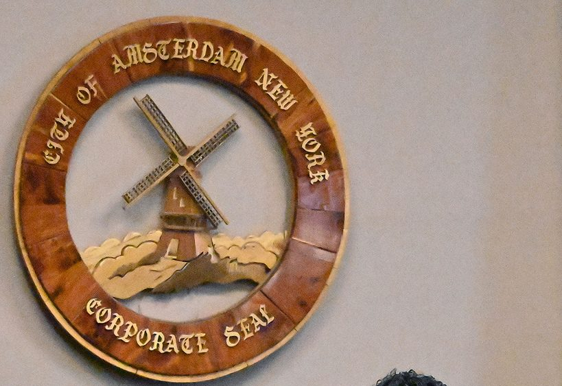 The city of Amsterdam seal.