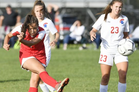 Niskayuna's Olivia Maltbe fires a shot against New Hartford on Friday.