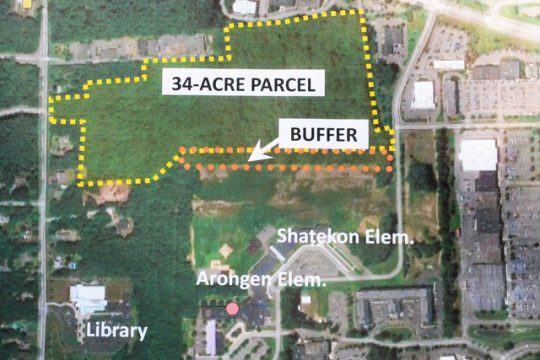 An aerial view of the 37-acre plot now owned by the Town of Clifton Park that will soon be turned into a public park.