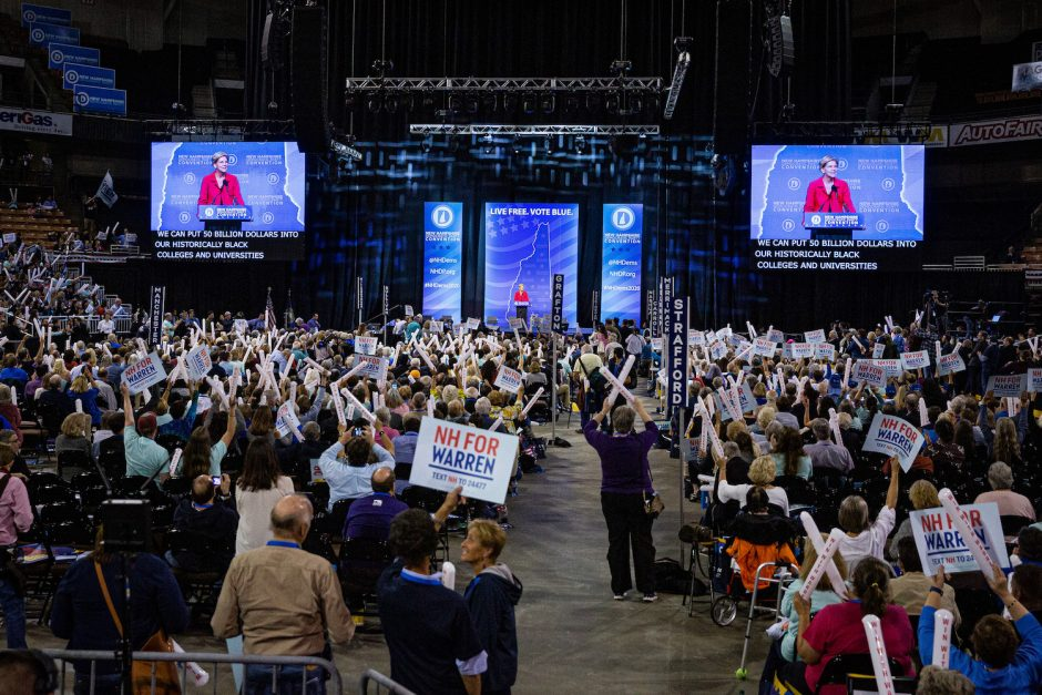 Sen. Elizabeth Warren addresses the New Hampshire Democratic Party State Convention in Manchester, N.H., Sept. 7, 2019.