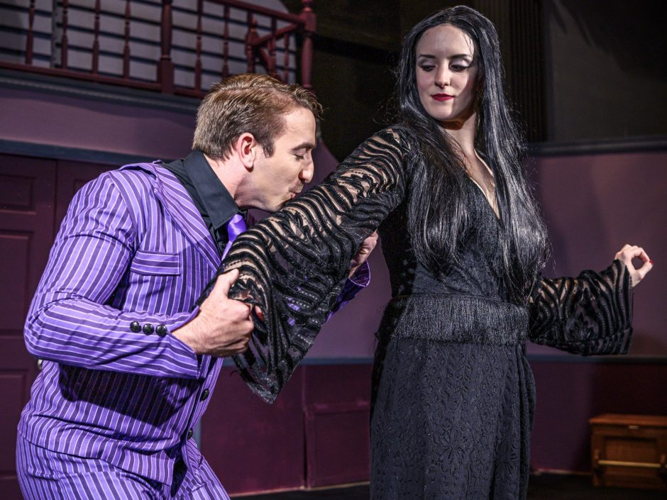 """Gabriel Hage as Gomez and Elizabeth Sterling as Morticia in SLOC's """"The Addams Family."""""""