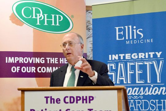 .John D. Bennett, president and CEO of CDPHP, speaks at the press conference in July.