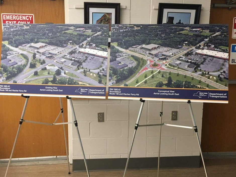 The state Department of Transportation's plans for the roundabout in Clifton Park, Sept. 20, 2018.