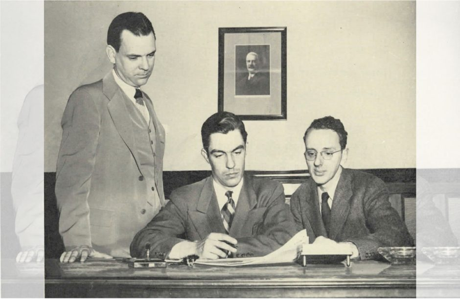 John E.N. Hume Jr., center, with City Editor Edward Themak Jr., left, and Editorial Page Editor Ralph M. Turner in the 1940s.