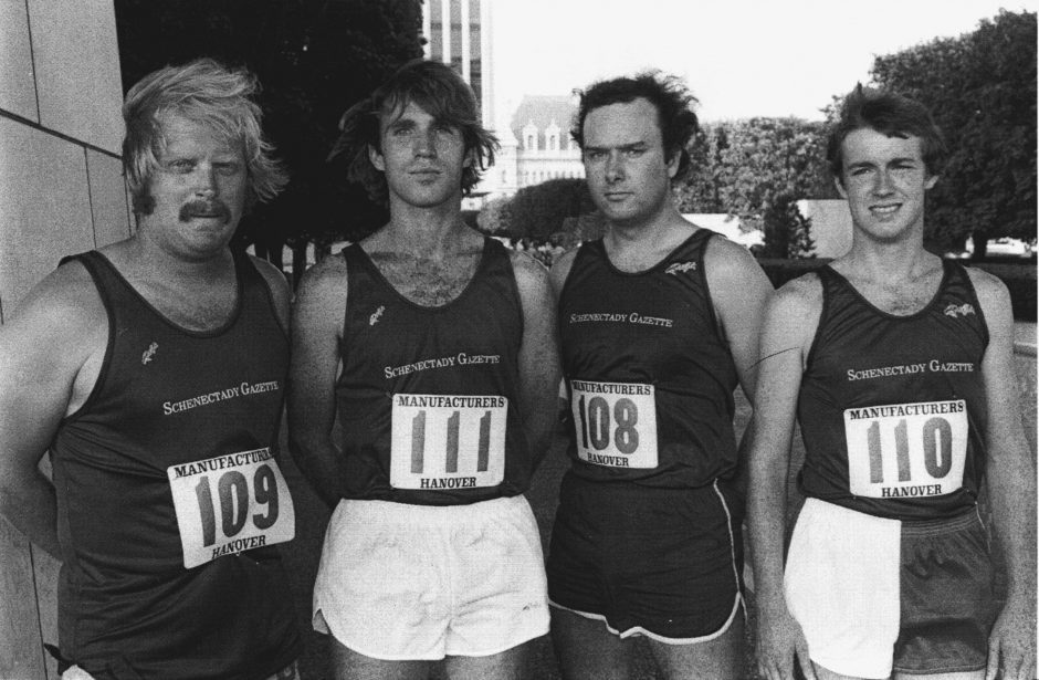 From left are sportswriters Bill Buell and Tim Layden; news reporter Jeff Wilkin; and sportswriter Joe Layden.