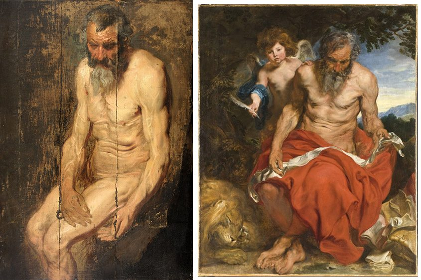 """The recently discovered sketch, left, and the finished painting of """"Saint Jerome with an Angel,"""" right, by Anthony Van Dyck."""
