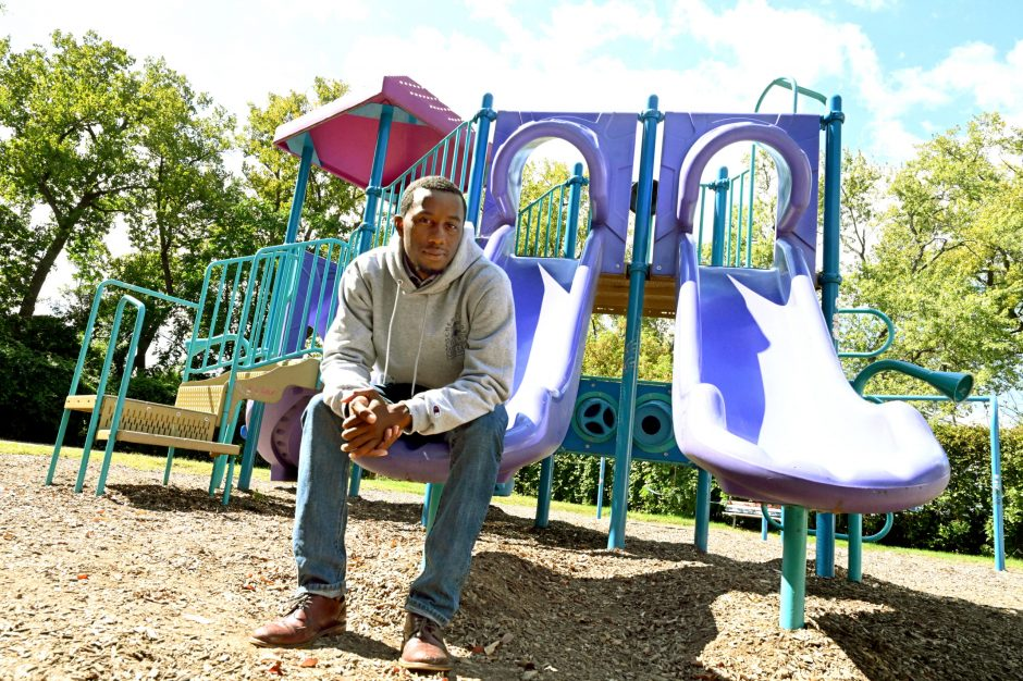 Tyrell Outlaw is seen in the small park at the corner of Windsor Terrace and Landon in Schenectady.
