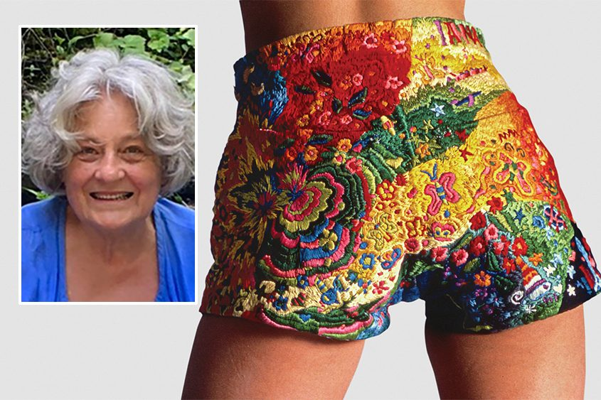 "Anna VA Polesny worked on her colorful shorts as she traveled the world. At right, her ""International Levi's 1973"""