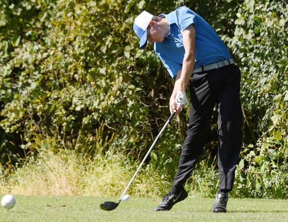 Saratoga Springs' AJ Cavotta tees off during the Suburban Council boys' golf tournament.
