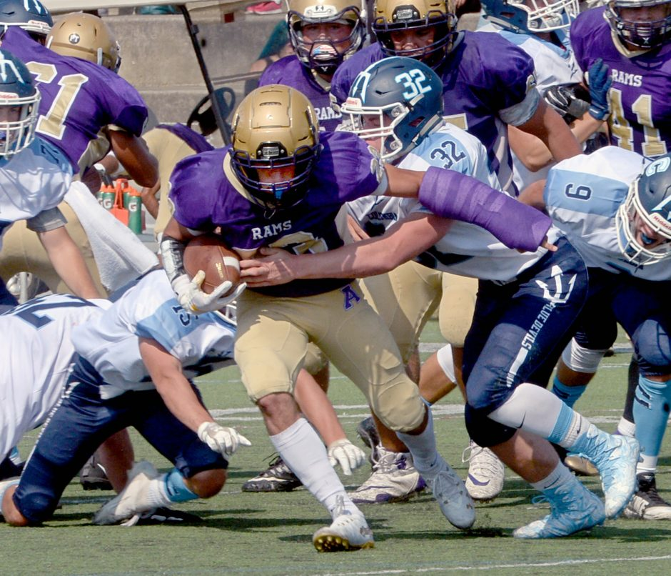Peyton Ausfeld scored two touchdowns in Amsterdam's 35-28 Class A football win Sunday over Columbia.