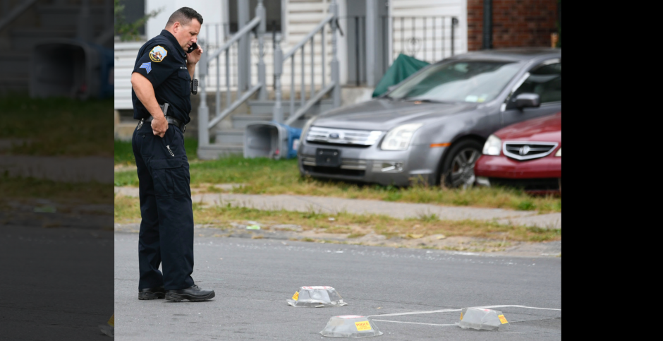 Schenectady Police Sgt. Christopher Scaccia at the scene Monday