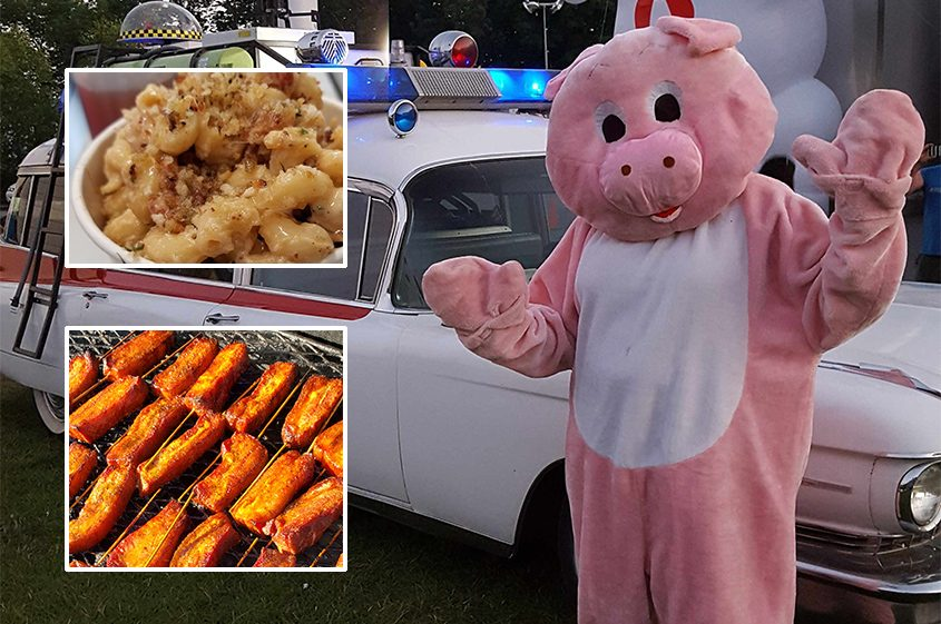 The pig takes center stage at the annual Bacon Jam. Inset: Mac 'n' cheese topped with bacon and bacon on a stick.