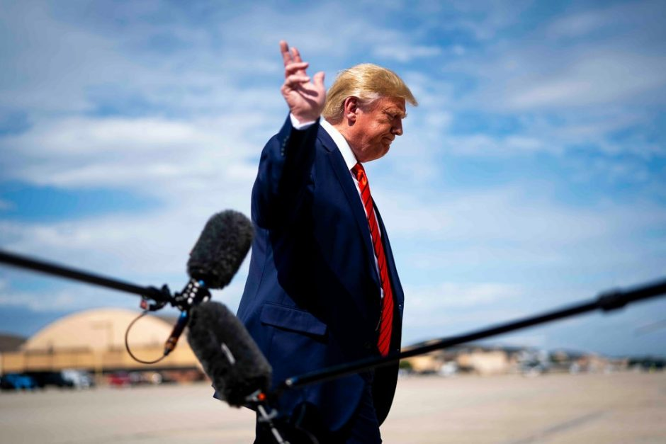 President Trump spoke to reporters at Andrews Air Force Base on Thursday.