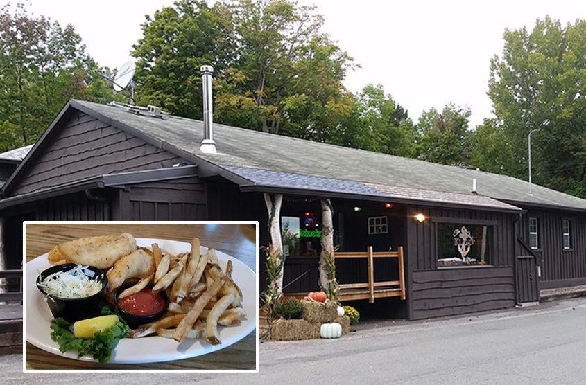 Klam'r Tavern and Marina in Halfmoon. Inset: Fish and Chips.