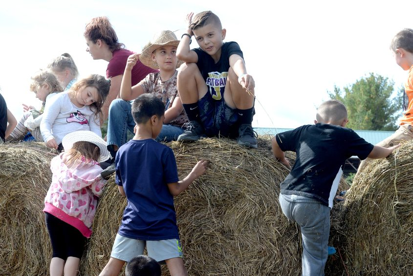 Youngsters play on a hay bale Sunday at Rogers Family Orchard during Sunday's Fulton County Sunday On The Farm.