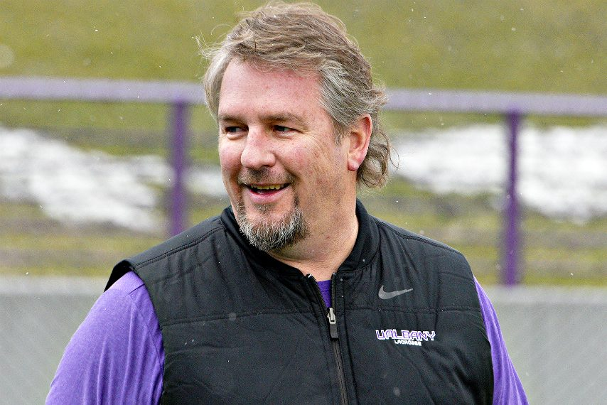 UAlbany head coach Scott Marr is shown earlier this year.