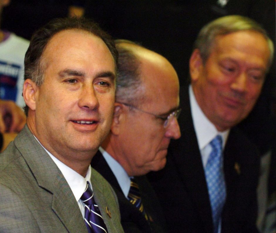 Then U.S. Rep. John Sweeney, left, is seen with former NYC Mayor Rudy Guiliani and Gov. George Pataki in 2006.