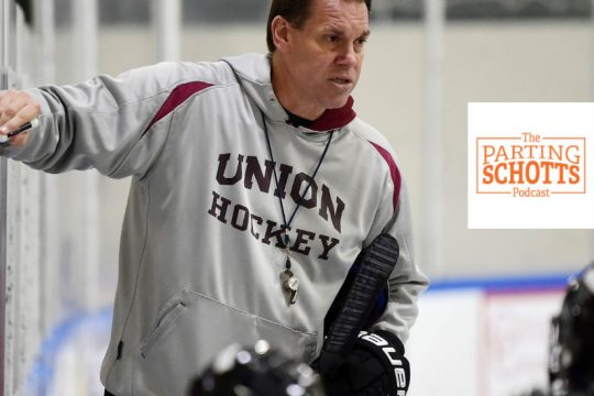"""Union men's hockey coach Rick Bennett is a guest on """"The Parting Schotts Podcast."""""""