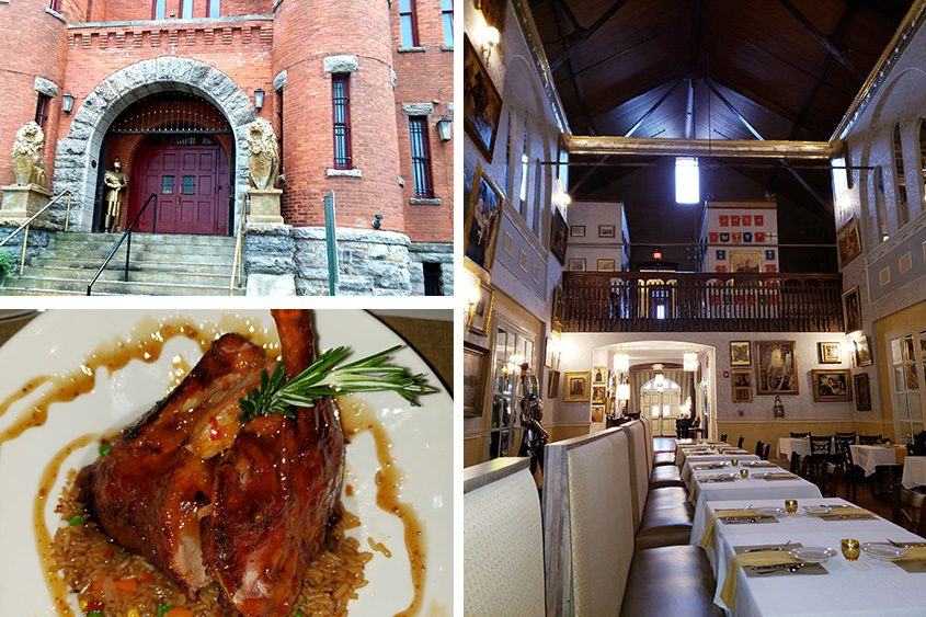 The interior and exterior of Amsterdam Castle and the Peking Duck Royale entree.