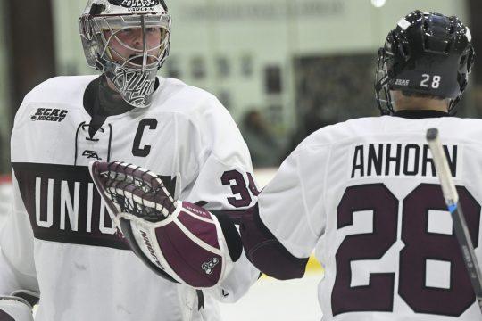 Union goalie Darion Hanson and defenseman Dylan Anhorn will face Northeastern this weekend at Messa Rink.