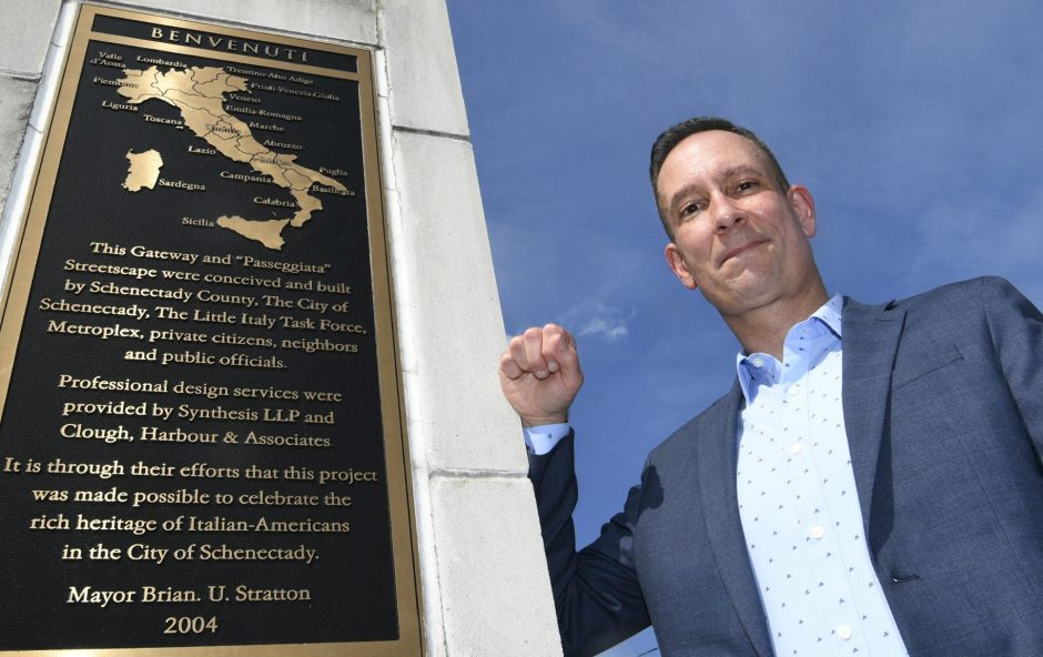 Jim Salengo of the Downtown Schenectady Improvement Corporation stands in Little Italy on Jay Street on July 16.