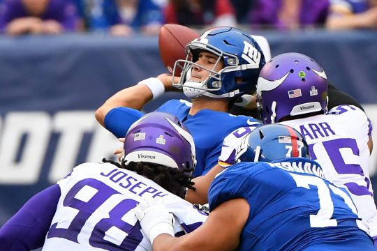 Daniel Jones and the New York Giants face the New England Patriots on Thursday night.