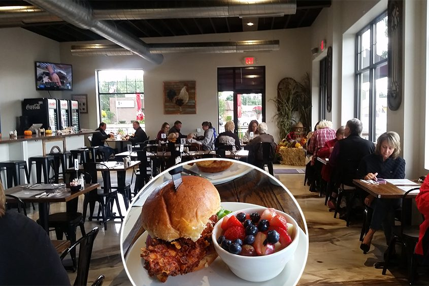 Roosters NY on Hamburg Street. Inset: Crispy chicken sandwich and fruit salad.