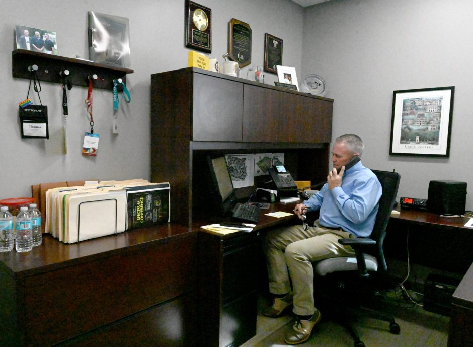 Thomas Constantine, associate director of campus safety, sits in his new office on Nott Street Tuesday.