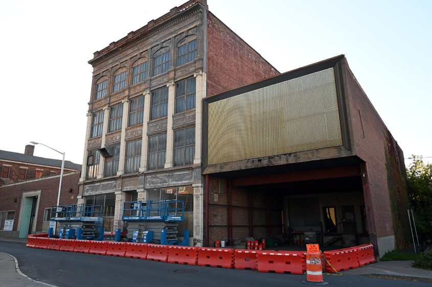 The former Schenectady Gazette press building on Broadway is pictured on Tuesday..