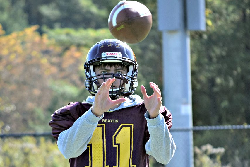 Jack Atty catches a pass during practice earlier this week in Fonda.