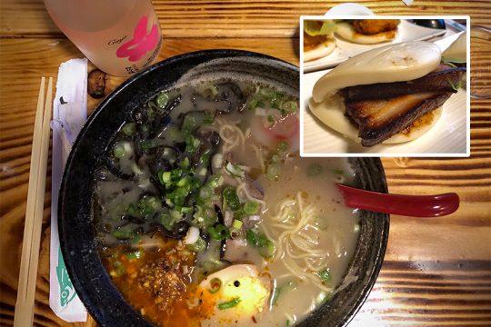 A big bowl of Tanpopo Spicy Ramen at Tanpopo Ramen and Sake Bar. Inset: Pork belly buns.