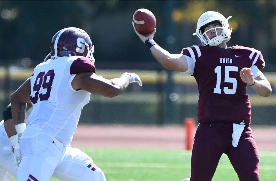 Quarterback William Bellamy threw four touchdown passes in Union's 28-14 win over Buffalo State on Saturday.