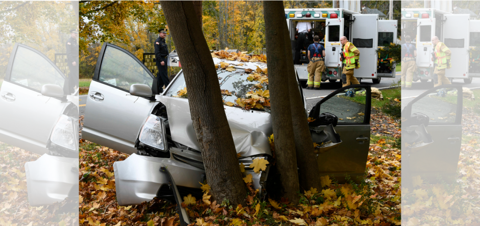The crash scene on Rosendale Road in Niskayuna Monday