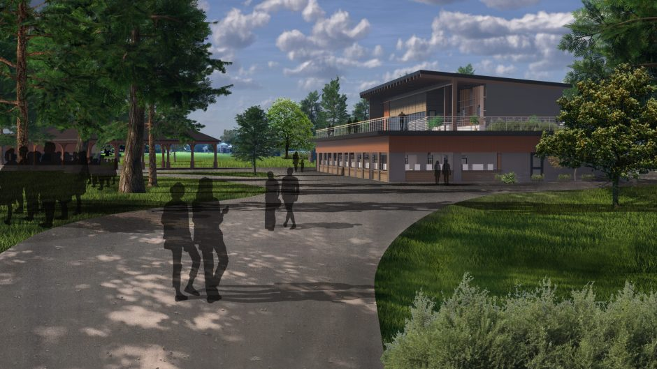 An artist's rendering shows the main concession building, which will include a second story, offering year-round event space.