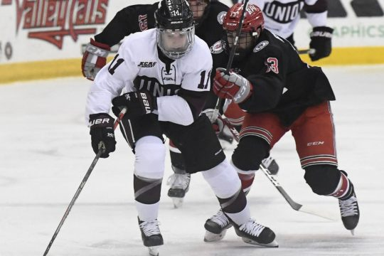 Union's Lucas Breault and RPI's Tommy Lee go after the puck in last Saturday's game at Houston Field House.