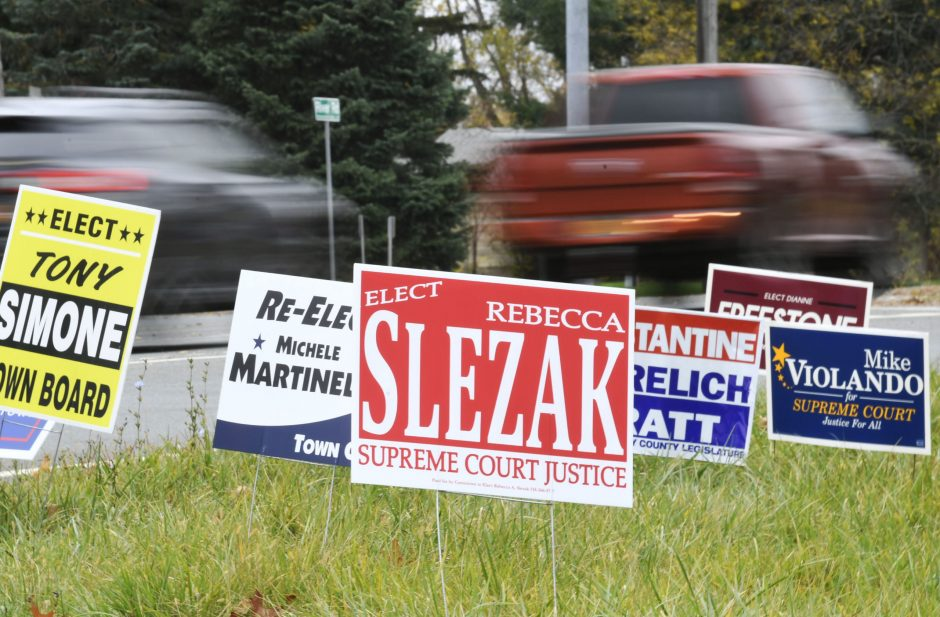 Campaign signs in the center median at Balltown and River roads in Niskayuna Thursday, October 31, 2019.