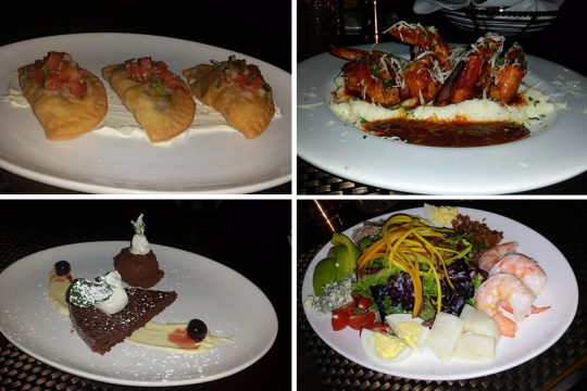 Clockwise from top left: Empanadas, shrimp and grits, seafood Cobb salad and chocolate mousse at Kiernan's.