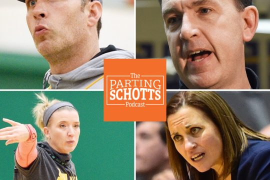 "Clockwise: Carmen Maciariello, Will Brown, Colleen Mullen and Ali Jaques are on the latest ""The Parting Schotts Podcast."""