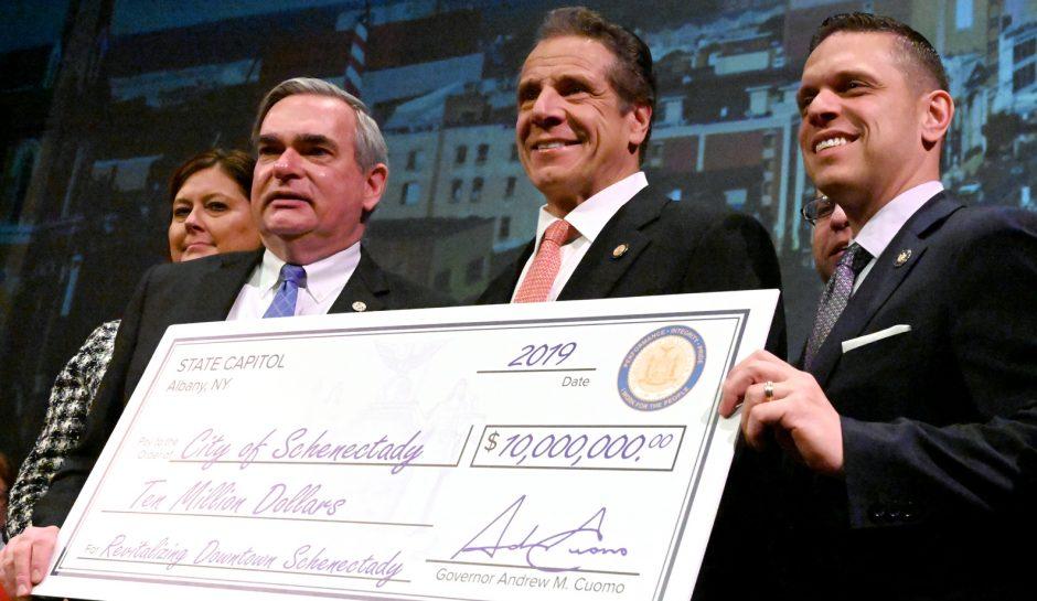 Gov. Andrew M. Cuomo announces $10M revitalization for Schenectady at the G.E. Theater in Proctors.