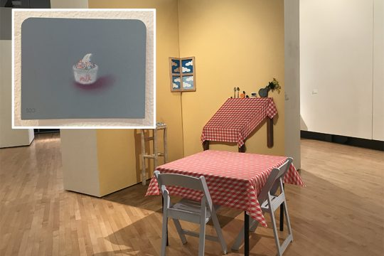 """Isabel Chun's """"Table for Two"""" and others; inset: A piece from Mie Yim's """"Food Drawings"""" series."""