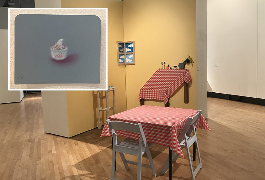 "Isabel Chun's ""Table for Two"" and others; inset: A piece from Mie Yim's ""Food Drawings"" series."