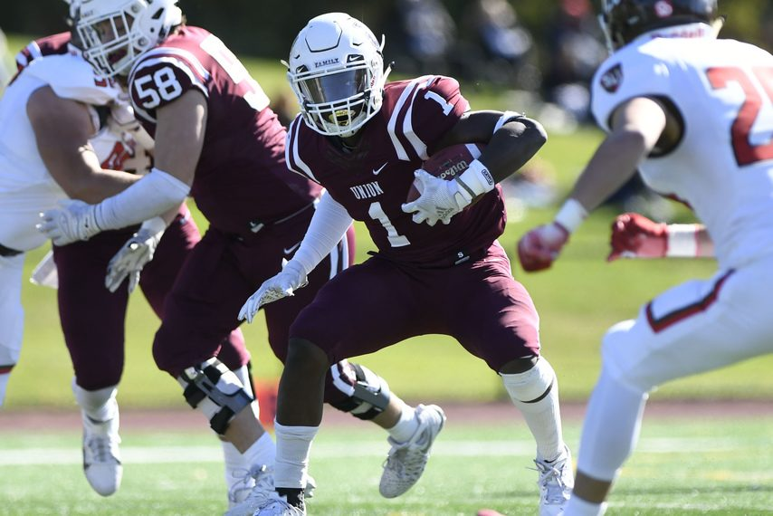 Union running back Ike Irabor looks for room against St. Lawrence on Oct. 19.
