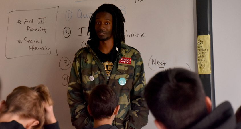 """Students at Niskayuna High School listen to Hugh """"H.D."""" Hunter during the author's October visit."""